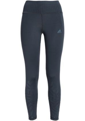Adidas Woman Printed Stretch-jersey Leggings Charcoal Size S