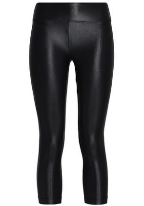 Koral Woman Cropped Coated Stretch Leggings Black Size L