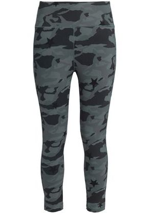 Monrow Woman Printed Stretch Leggings Army Green Size S