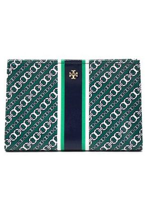 Tory Burch Woman Printed Cotton-twill Cosmetics Case Forest Green Size -