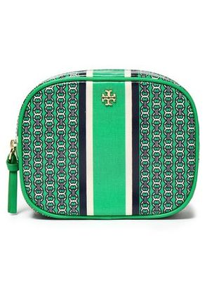 Tory Burch Woman Printed Cotton-twill Cosmetics Case Green Size -
