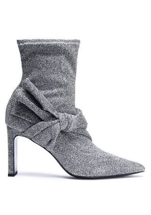 Sigerson Morrison Woman Helin Knotted Metallic Stretch-knit Sock Boots Silver Size 7