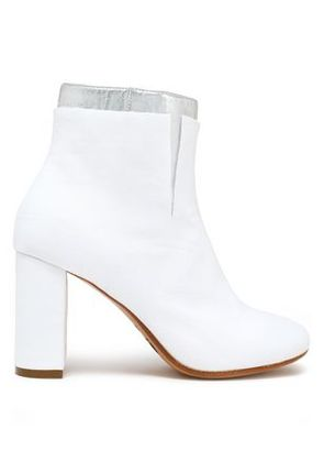 Mm6 By Maison Margiela Woman Layered Metallic Woven Ankle Boots White Size 39
