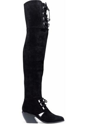 Opening Ceremony Woman Cutout Lace-up Suede Over-the-knee Boots Black Size 35