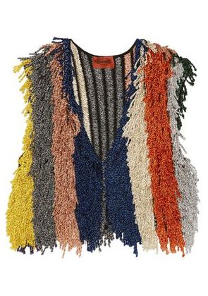 Missoni Woman Cropped Fringed Metallic Stretch-knit Vest Multicolor Size 38