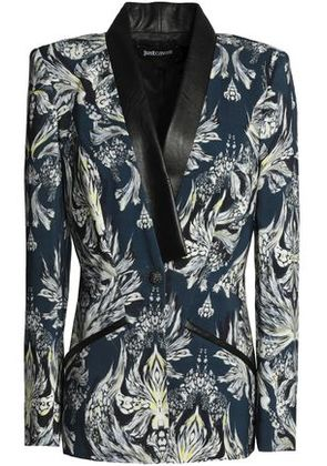 Just Cavalli Woman Faux Leather-trimmed Printed Jersey Blazer Storm Blue Size 40