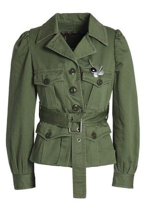 Marc Jacobs Woman Embellished Cotton Jacket Army Green Size 4