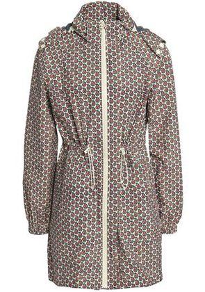 Tory Burch Woman Printed Shell Hooded Jacket Off-white Size XS