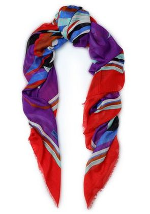 Emilio Pucci Woman Printed Cashmere And Silk-blend Scarf Multicolor Size ONESIZE