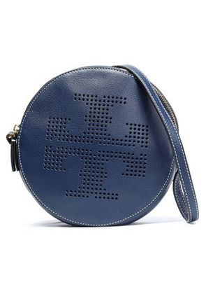 Tory Burch Woman Perforated Leather Shoulder Bag Navy Size -