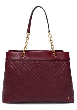 Tory Burch Woman Quilted Leather Tote Burgundy Size -