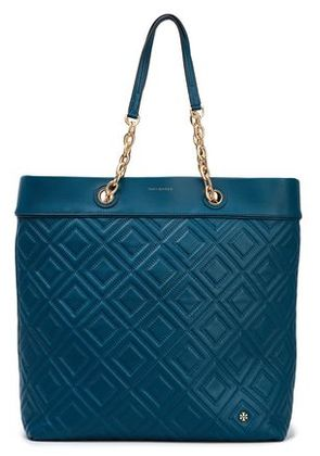 Tory Burch Woman Quilted Leather Tote Storm Blue Size -