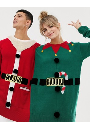 Bravesoul santa claus and buddy elf two person Christmas jumper - Red