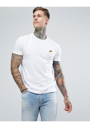 Brave Soul T-Shirt With Embroidered Pizza Logo - White