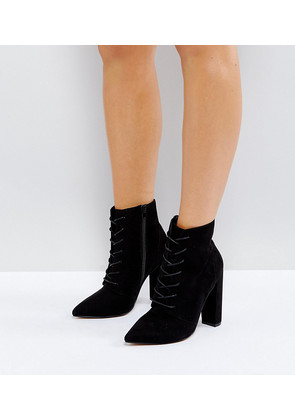 ASOS ELECTRONIC Wide Fit Lace Up Heeled Ankle Boots - Black