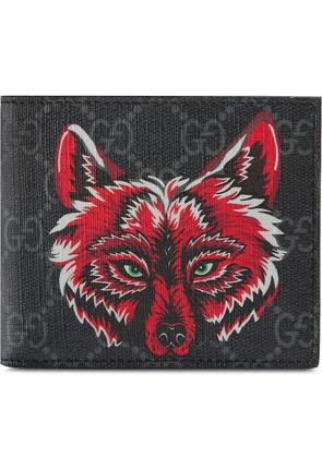 Gucci GG Supreme wallet with wolf - Black