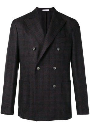 Boglioli checked double breasted blazer - Grey