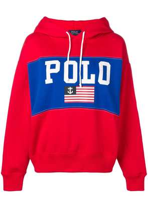 Polo Ralph Lauren flag print hoodie - Red