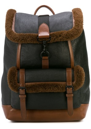 Coach Bleecker Backpack with Shearling Detail - Black