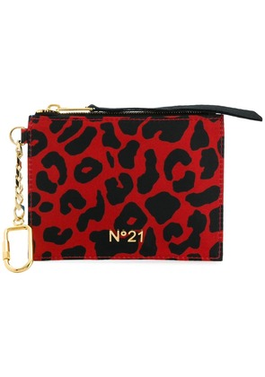 No21 leopard print purse keyring - Red