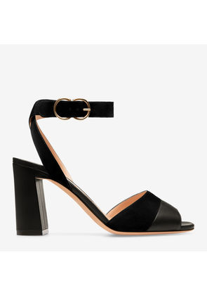 Bally Hassia Black, Women's plain calf leather sandal with 85mm heel in black