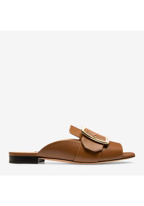 Bally Janaya Brown, Women's plain calf leather backless mule sandal in cowboy