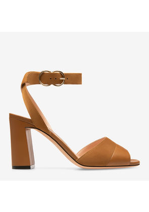 Bally Hassia Brown, Women's plain calf leather sandal with 85mm heel in cowboy