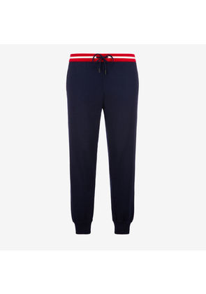 Bally Cotton Knit Lounge Trousers Blue, Men's cotton knit trousers in navy