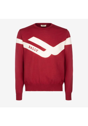 Bally Competition Jumper Red, Men's wool knit jumper in Bally Red