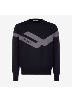 Bally Competition Jumper Blue, Men's wool knit jumper in ink