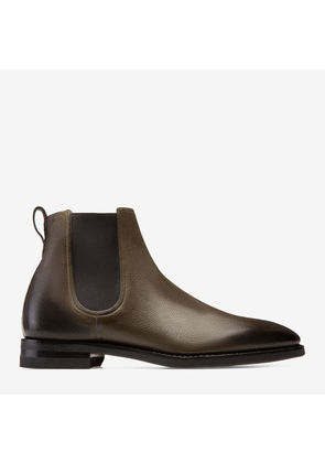 Bally Scavone Green, Men's hand painted grained deer leather boot in fango