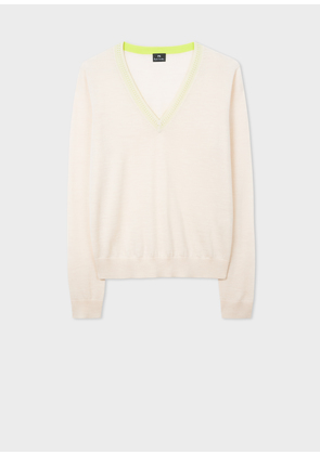 Women's Cream Contrast V-Neck Wool Sweater