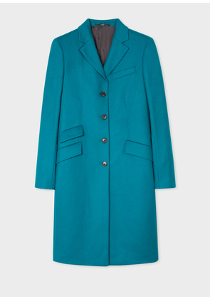 Women's Dark Turquoise Wool-Cashmere Epsom Coat