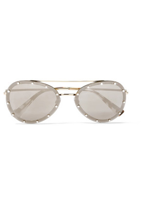 Valentino - Aviator-style Crystal-embellished Gold-tone Mirrored Sunglasses - Brown