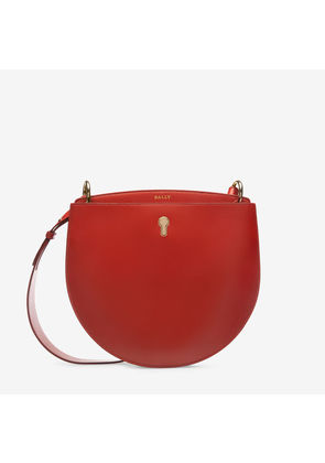 Bally Cecyle Red, Women's plain calf leather crossbody bag in papavero