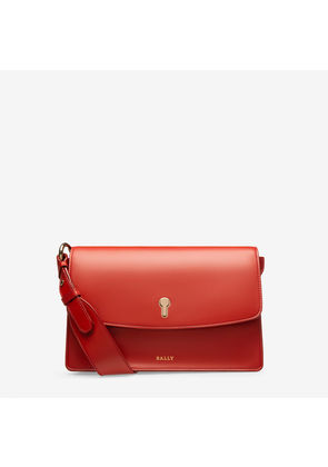 Bally Celestine Red, Women's plain calf leather crossbody bag in papavero