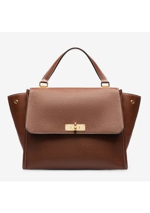 Bally Breeze Brown, Women's medium plain calf leather top handle bag in roast