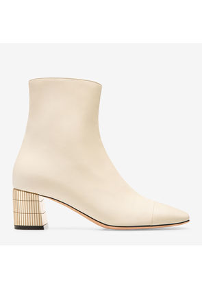 Bally Emme White, Women's calf leather ankle boot with 55mm heel in bone