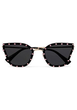 Valentino - Cat-eye Crystal-embellished Acetate And Gold-tone Sunglasses - Black