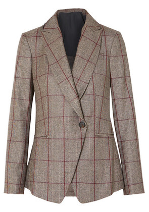Brunello Cucinelli - Sequin-embellished Prince Of Wales Checked Wool Blazer - Brown