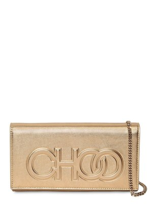 SANTINI EMBOSSED LOGO LEATHER CLUTCH