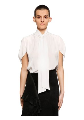BOW COLLAR SILK CREPE DE CHINE SHIRT