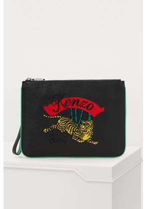 Leather jumping tiger pouch