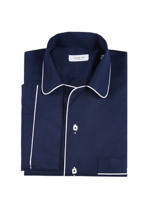 Marol Navy with White Piping Cotton Pyjama Shirt