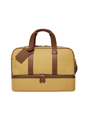 William & Son Beige Canvas and Leather Griffin Zip-Round Holdall