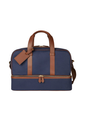 William & Son Blue Canvas and Leather Griffin Barrel Holdall
