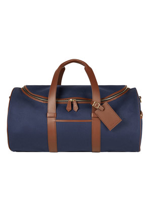 William & Son Blue Canvas and Leather Griffin Zip-Round Holdall