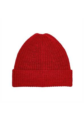 The Workers Club Red Merino Wool Rib Knit Beanie