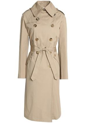Sandro Woman Double-breasted Cotton-gabardine Trench Coat Beige Size 36