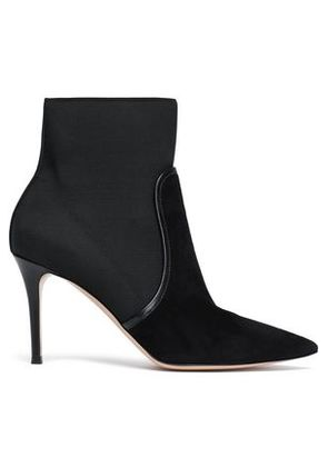 Gianvito Rossi Woman Leather-trimmed Stretch-knit And Suede Sock Boots Black Size 37.5